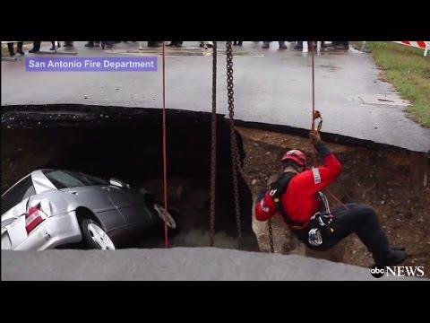 مصر اليوم - شاهد حفرة غريبة تبتلع السيارات وتقتل شرطية أميركية