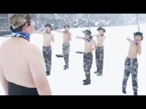 شاهد  «النسر أبى» يثير الجدل فى الصين بتدريب 13 طفلا وسط الجليد