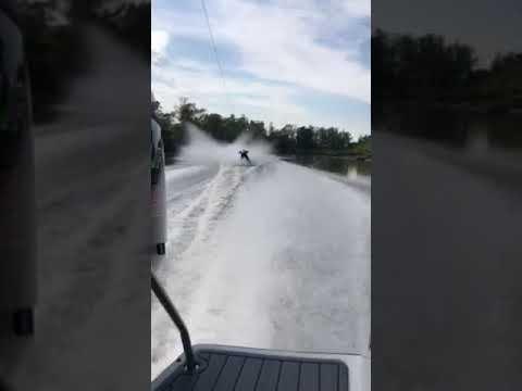 شاهد لحظة اصطدام متزلج على الماء بسمكة قرش