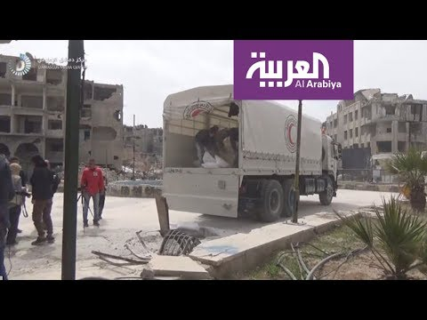 شاهد الغارات تستهدف نازحي منطقة الغوطة الشرقية