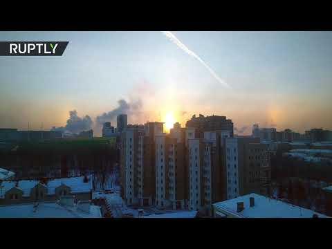 شاهد ثلاثة شموس في سماء يكاترينبورغ الروسية