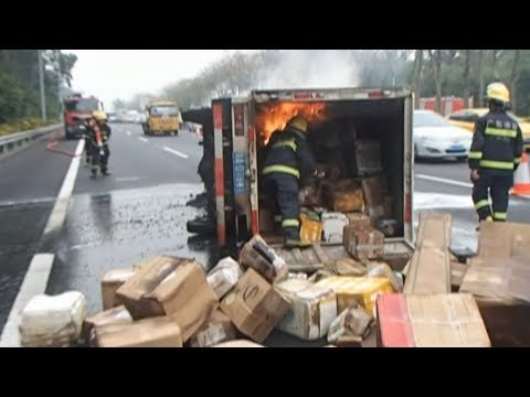 delivery truck catches fire on expressway