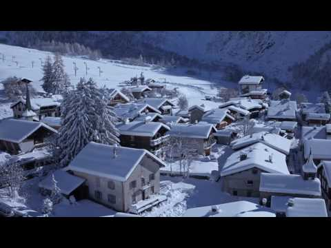 snowy drone shots around chamonix
