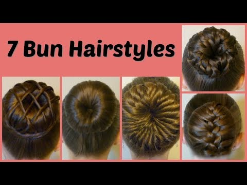7 ways to make a bun using a hair donut compilation