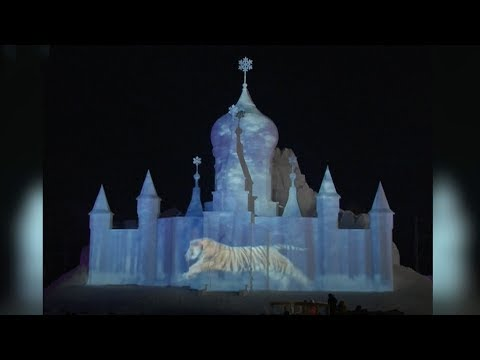 3d light show debuts at annual harbin