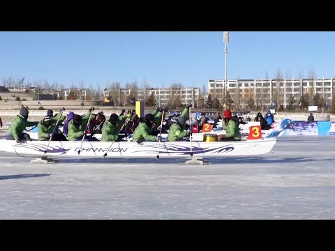 worlds first ice dragon boat championship