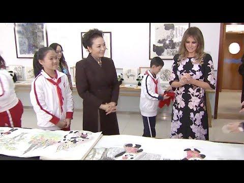 first ladies peng liyuan and melania trump help