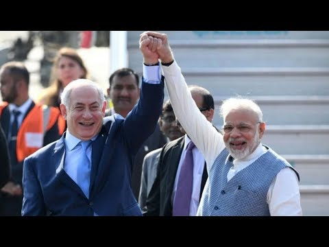 netanyahu in india for first visit by israeli