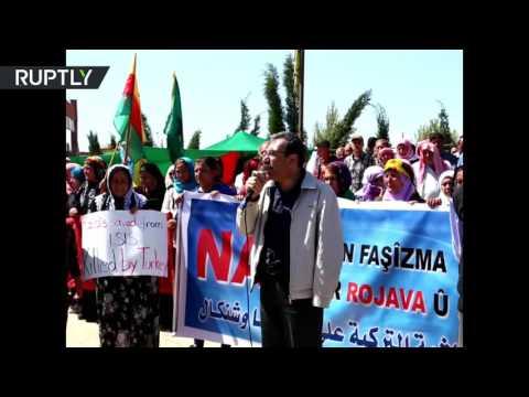 مصر اليوم - بالفيديو مظاهرات بالمئات في القامشلي ضد الغارات التركية