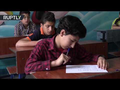 مصر اليوم - شاهد امتحان في اللغة الروسية لأطفال في حلب