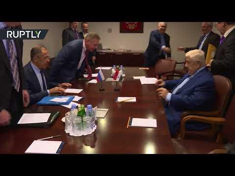 مصر اليوم - شاهد لقاء بين وزيري الخارجية الروسي سيرغي لافروف والسوري وليد المعلم