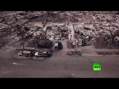 مصر اليوم - شاهد طائرة من دون طيار توثق مدى الدمار الذي خلفته حرائق كاليفورنيا