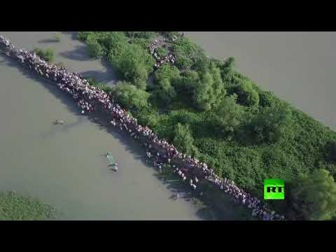 مصر اليوم - شاهد طائرة من دون طيار تراقب نزوح الآلاف من الروهينغا من ميانمار