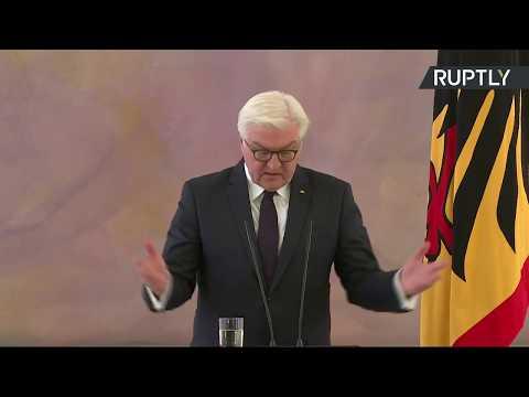 جانب من مؤتمر صحافي للرئيس الألماني فرانكفالتر شتاينماير