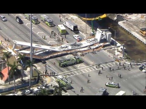 بالفيديو مقتل عدة أشخاص إثر انهيار جسر للمشاة في فلوريدا