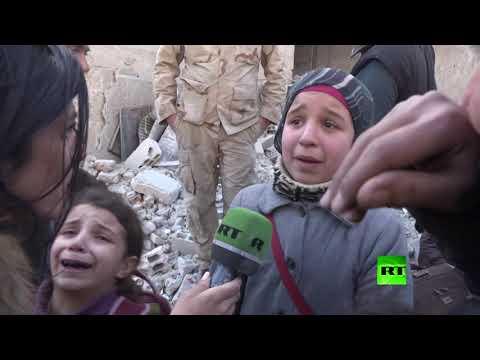 شاهد طفلة سورية تضيع أثر أبيها وتبكي بحرقة