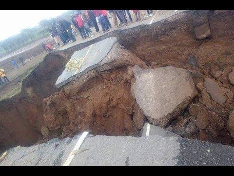 بالفيديو انهيار طريق ماي ماهيو السريع في كينيا بسبب صدع بركاني