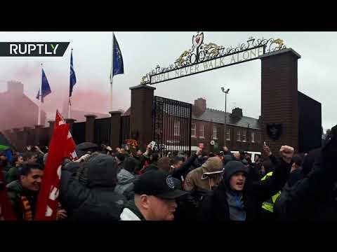 شاهد  اعتقال مشجعين بسبب العنف على هامش لقاء ليفربول وروما