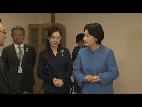 بالفيديو سيدة كوريا الجنوبية الأولى في ضيافة زوجة كيم يونغ أون