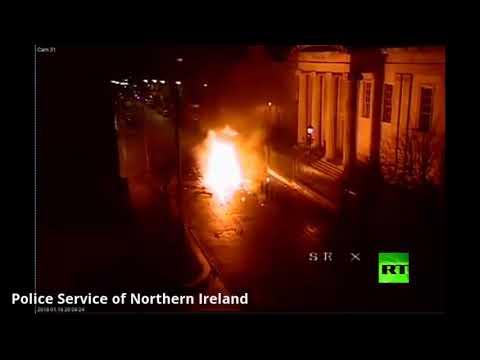 شاهد لحظة انفجار سيارة مفخخة في أيرلندا الشمالية