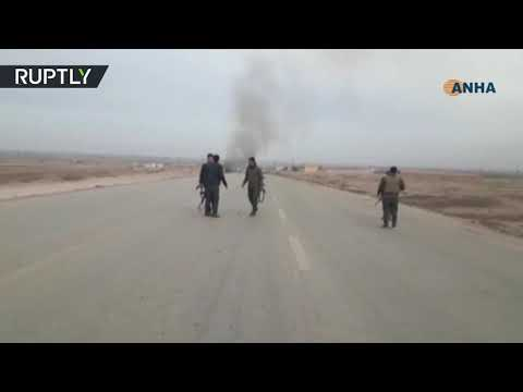 شاهد انفجار سيارة مُفخخة استهدفت رتلًا للتحالف الدولي
