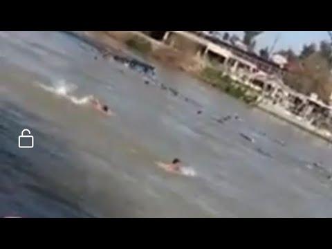 شاهد  انقلاب عبارة قبل قليل في الموصل نهر دجلة