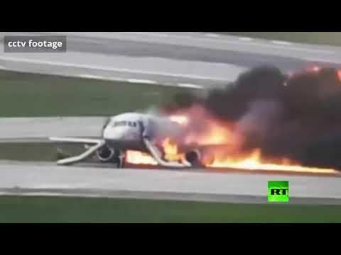 شاهد زاوية مختلفة لحادث احتراق الطائرة الروسية