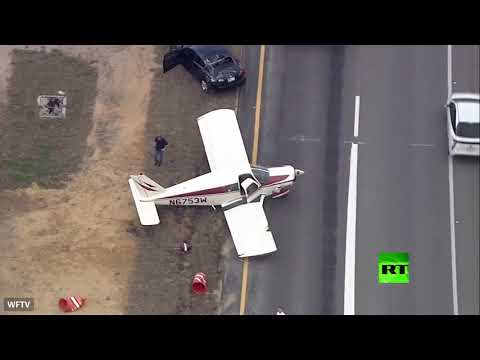 لحظة هبوط طائرة اضطراريا في فلوريدا الأميركية