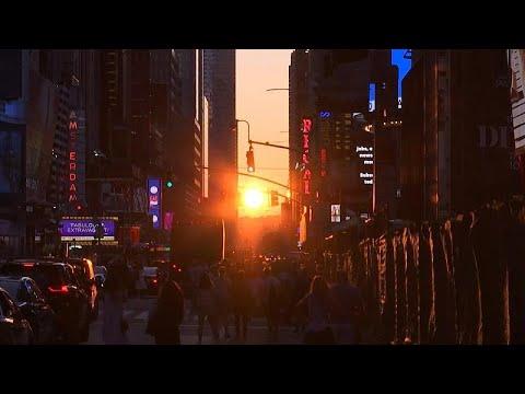 شاهد لقطات نادرة لغروب مميز لشمس مانهاتن