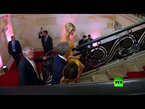 شاهد إيفانكا ترامب تخطف الأنظار بفستان أصفر في كولومبيا