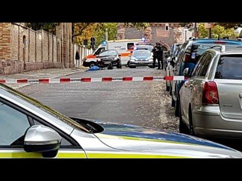 شاهد الشرطة الألمانية تعتقل مشتبهًا به بعد واقعة إطلاق نار بأحد شوارع هاله