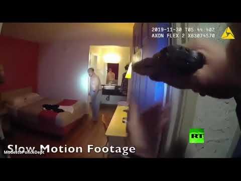 شاهد الشرطة الأميركية تقتل مطلوبًا تأخر في سحب مسدسه