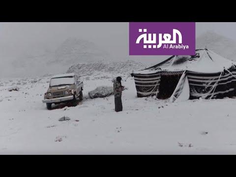 شاهد الصور التي التقطها سعوديون للثلوج التي غطت المناطق الشمالية