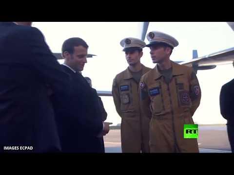 شاهد إيمانويل ماكرون يزور القاعدة الجوية 123 أورليانبريسي