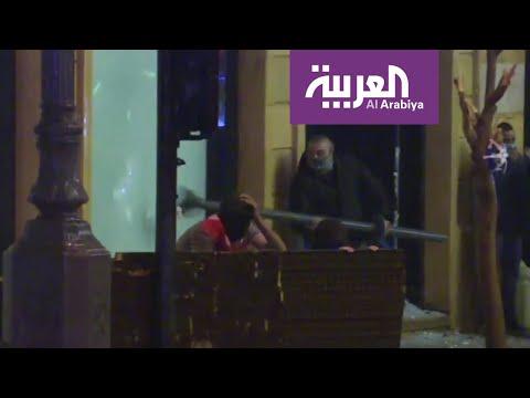 شاهد تحطيم واجهات محال وسط العاصمة اللبنانية بيروت