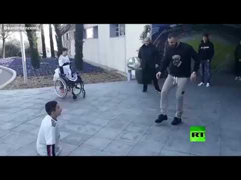 شاهد كريم بنزيما في لفتة إنسانية يلتقي الطفل علي