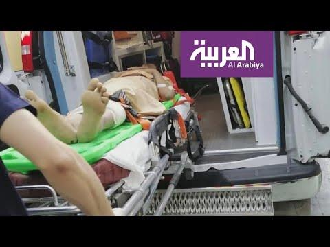 شاهد وصول جرحى من محافظة الجوف اليمنية إلى مستشفيات السعودية