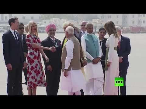 شاهد إيفانكا ترامب ضمن وفد استقبال والدها في الهند