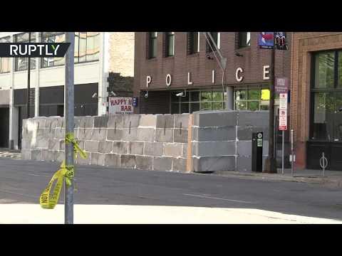 شاهد جدار خرساني يُحيط بمركز شرطة مينيابوليس الأميركية