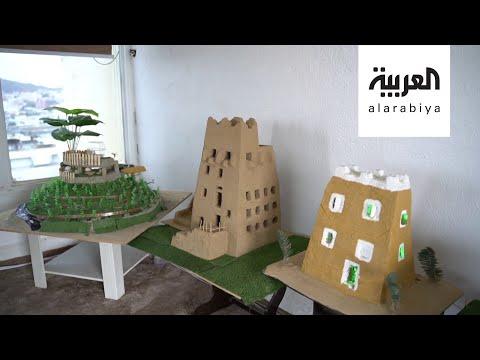 شاهد سعودي يبرع في بناء مجسمات البيوت الشعبية في عسير