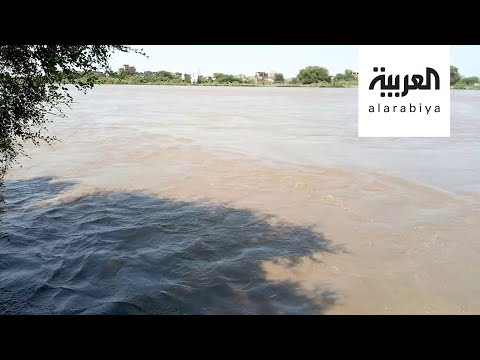 شاهد لقطات مُثيرة تظهر ارتفاع منسوب النيل الأزرق في السودان