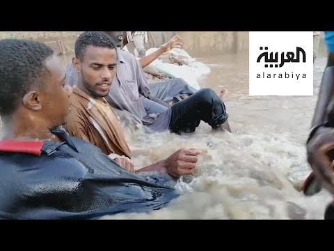 شاهد مقطع فيديو شغل السودانيين يرصد التصدي لفيضان النيل بالبشر
