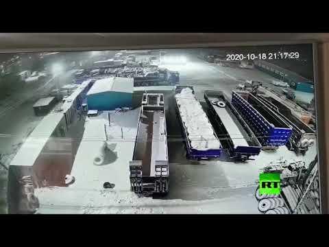 شاهد دب يتجول في أحد أحياء مدينة روسية ويرعب السكان