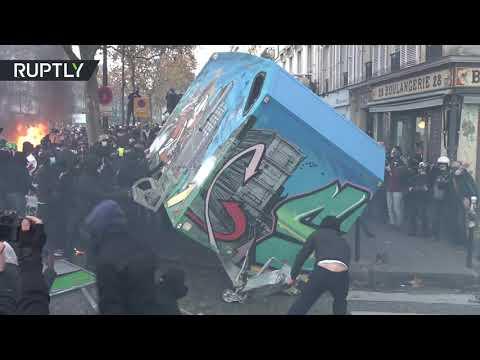 شاهد غضب في فرنسا واحتجاجات عنيفة ضد قانون الأمن الشامل